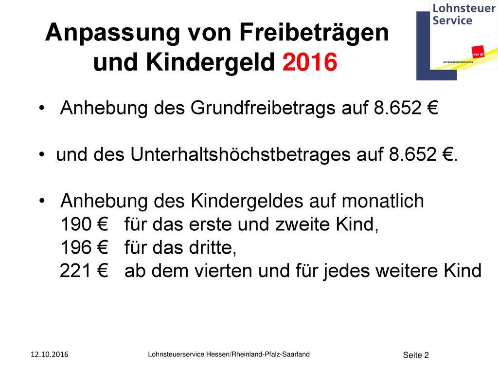 Anpassung von Freibeträgen und Kindergeld 2016