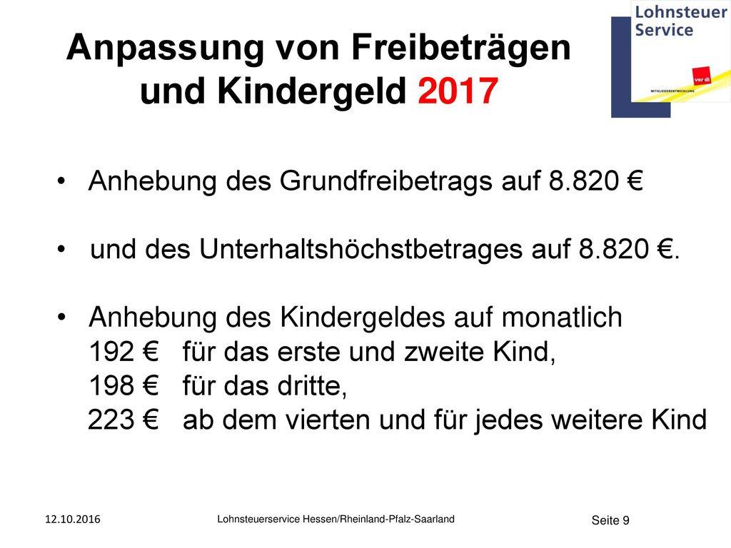 Anpassung von Freibeträgen und Kindergeld 2017
