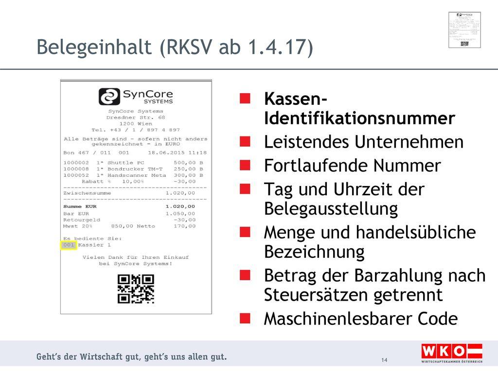 Belegeinhalt (RKSV ab 1.4.17)