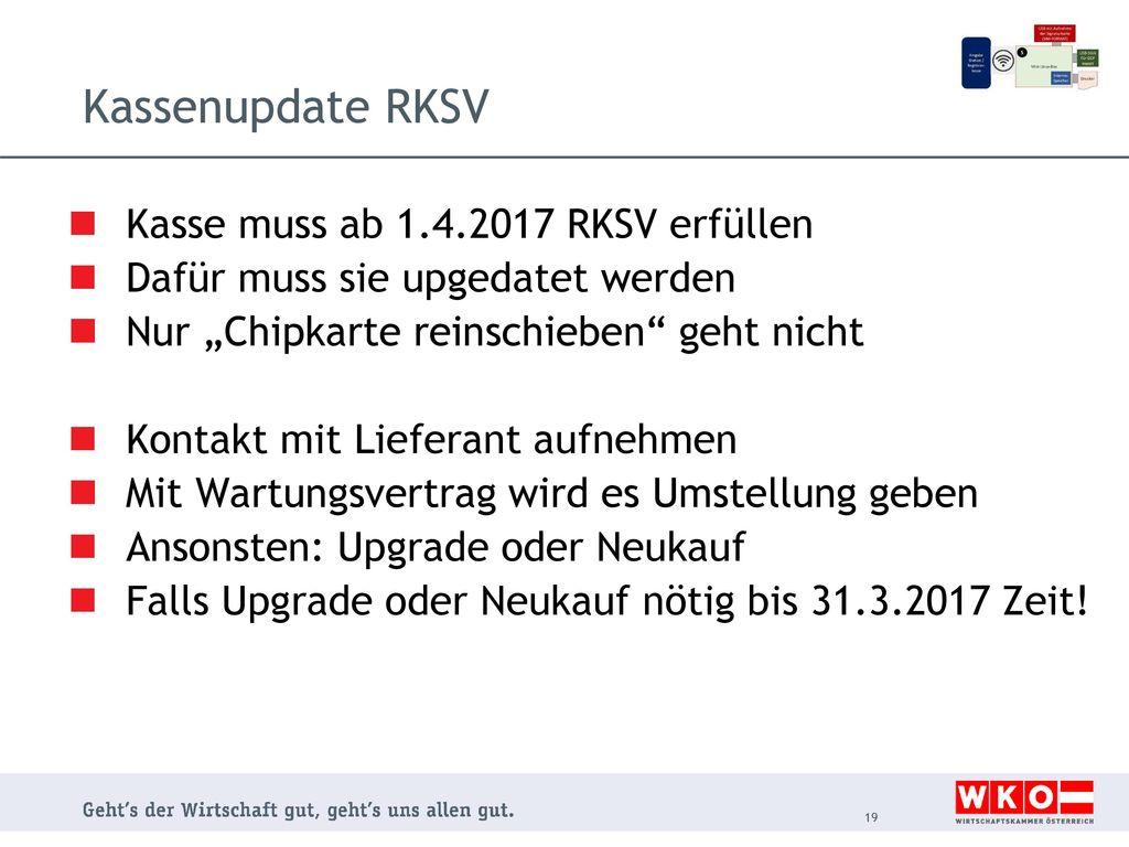 Kassenupdate RKSV Kasse muss ab 1.4.2017 RKSV erfüllen