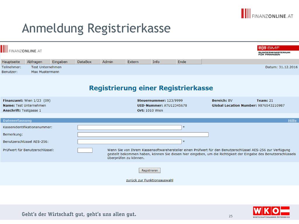Anmeldung Registrierkasse