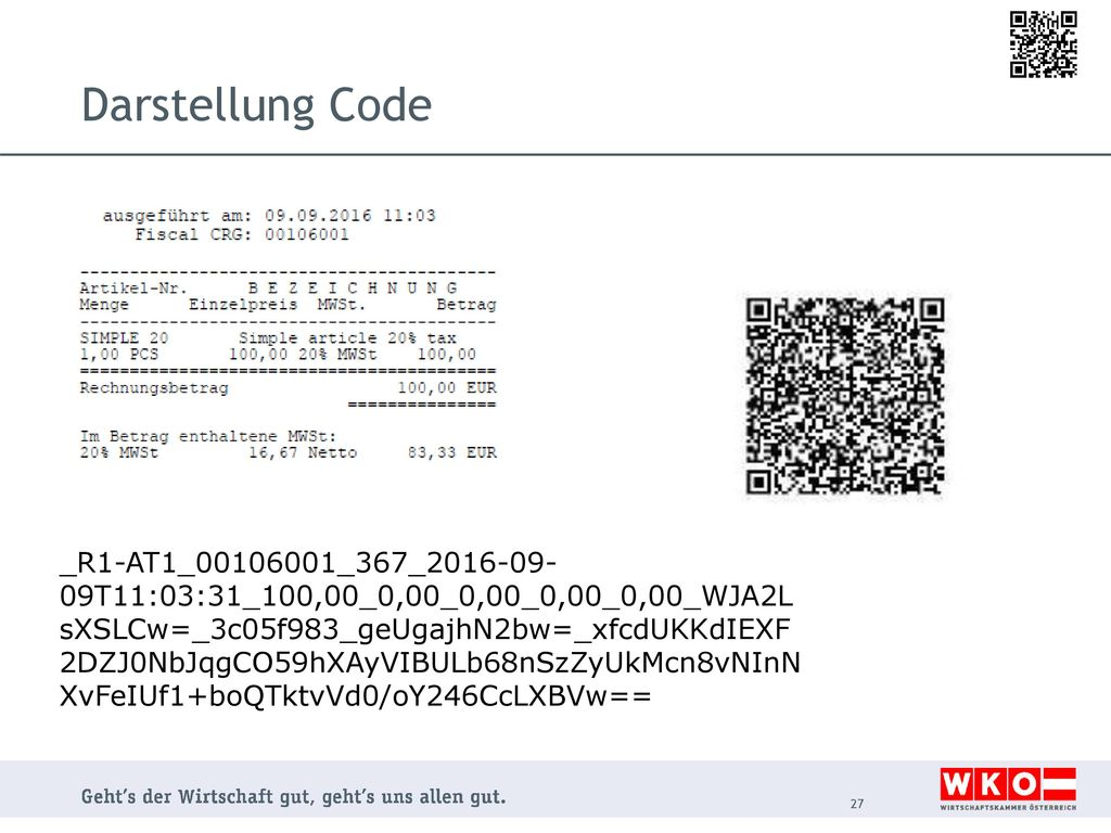 Darstellung Code