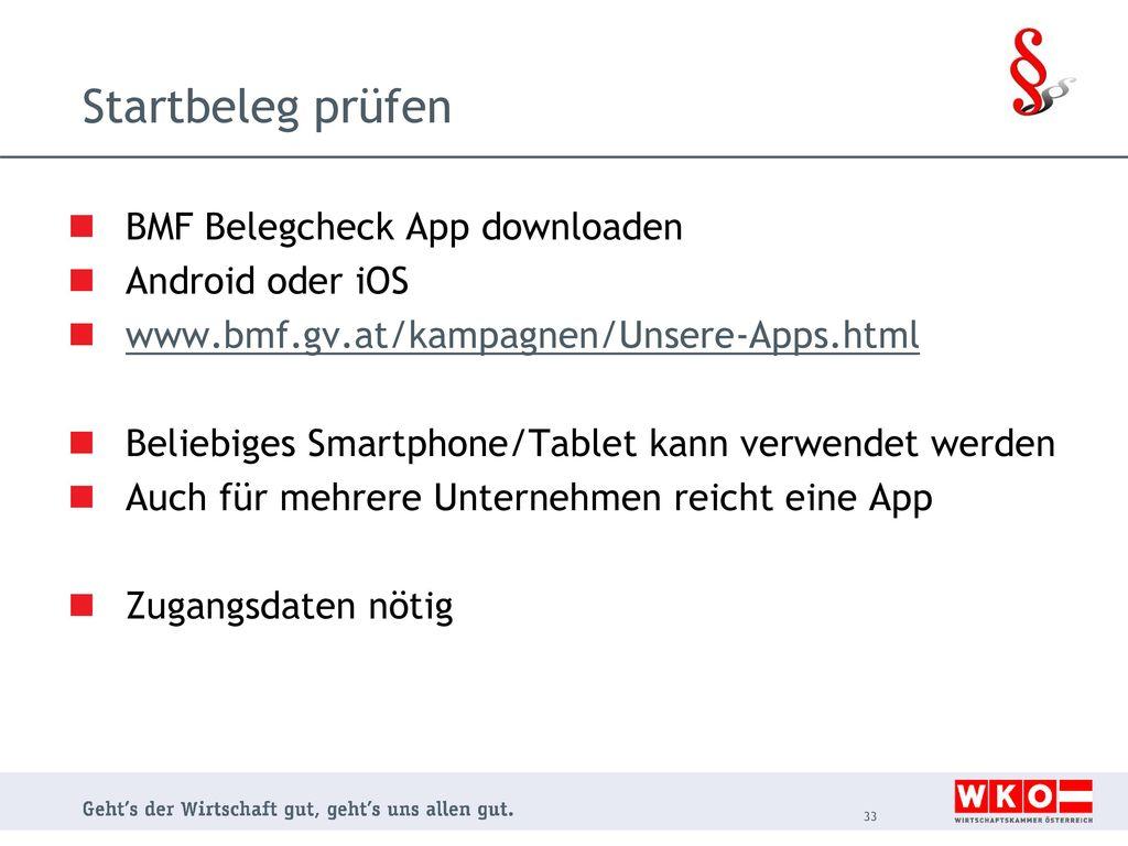 Startbeleg prüfen BMF Belegcheck App downloaden Android oder iOS