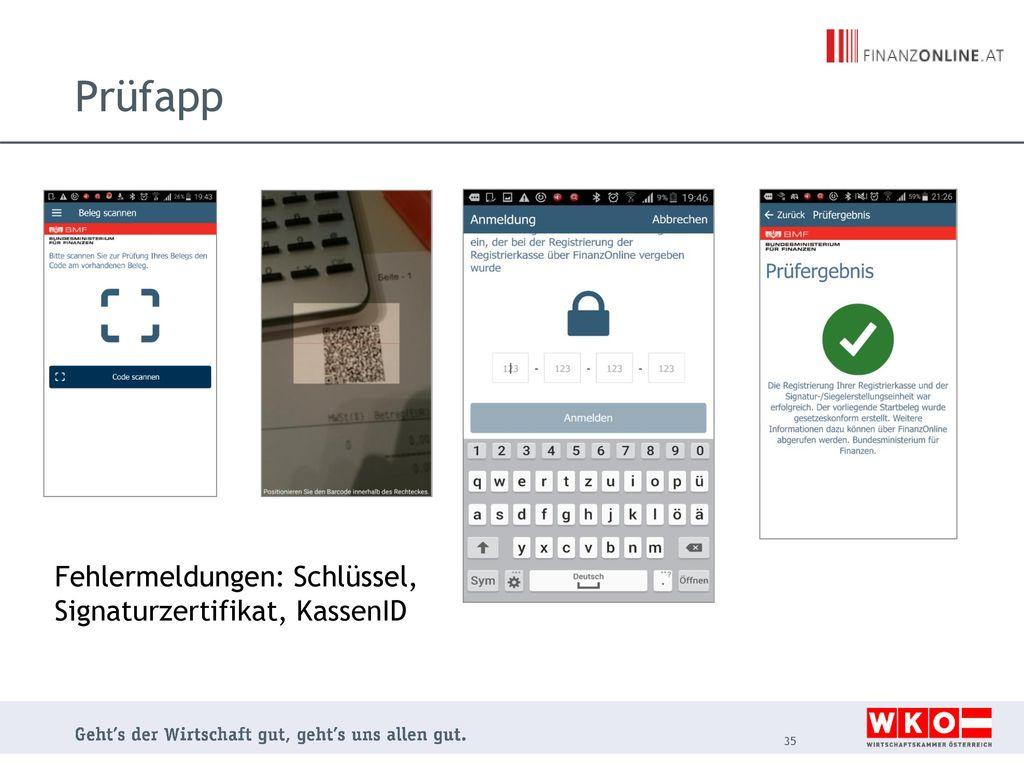 Prüfapp Fehlermeldungen: Schlüssel, Signaturzertifikat, KassenID