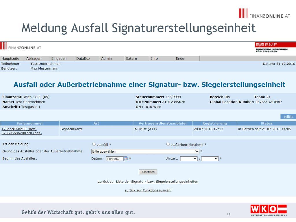 Meldung Ausfall Signaturerstellungseinheit
