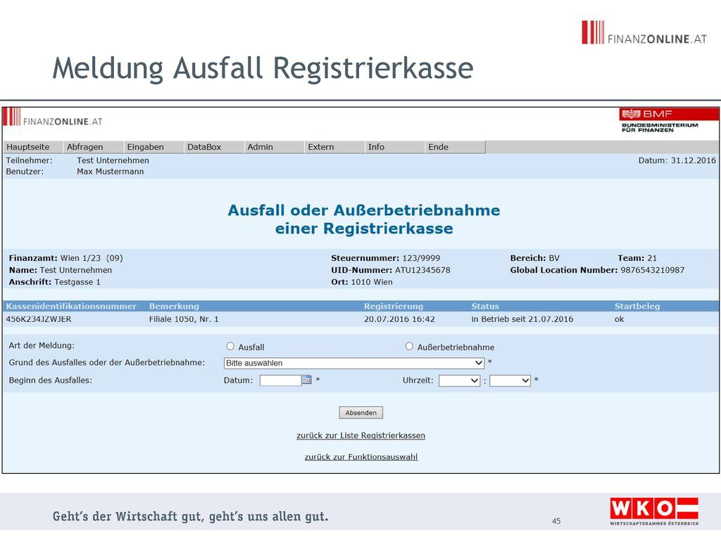 Meldung Ausfall Registrierkasse