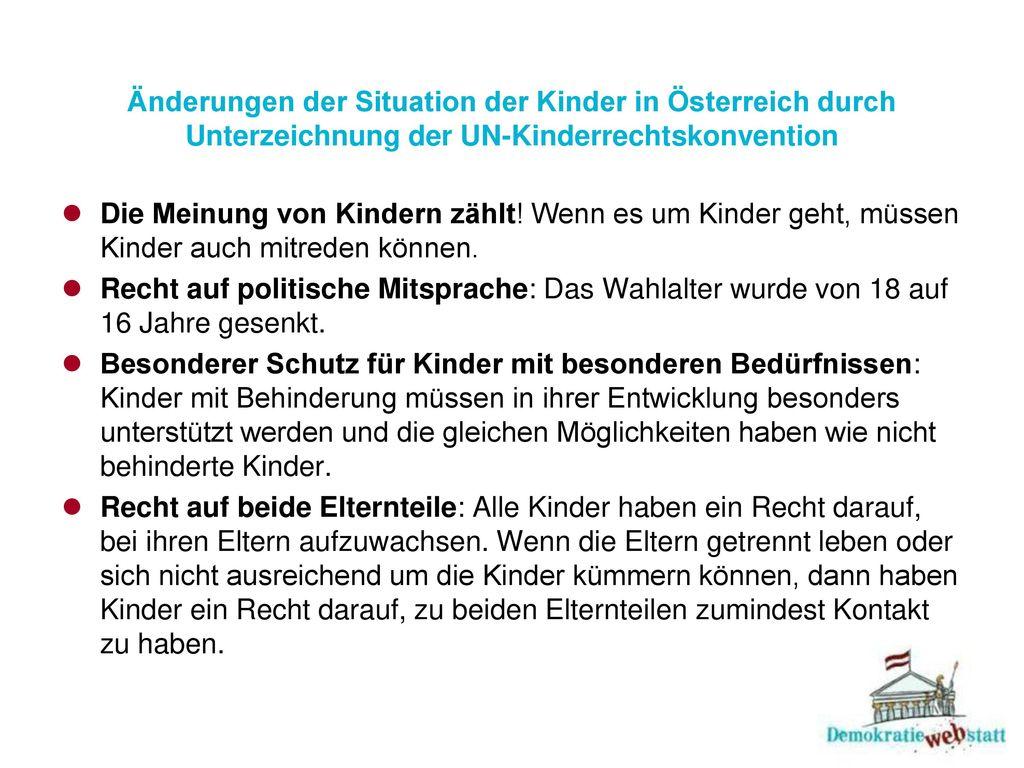 Änderungen der Situation der Kinder in Österreich durch Unterzeichnung der UN-Kinderrechtskonvention