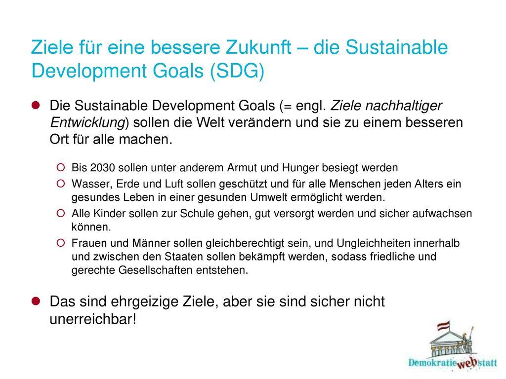 Ziele für eine bessere Zukunft – die Sustainable Development Goals (SDG)