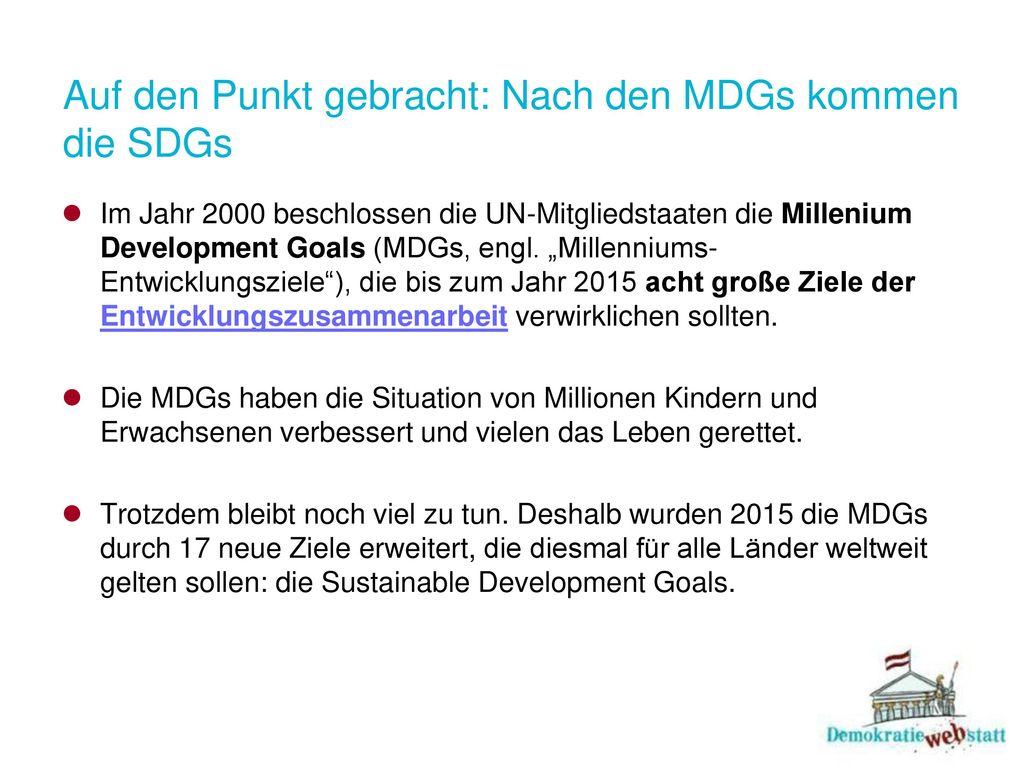 Auf den Punkt gebracht: Nach den MDGs kommen die SDGs