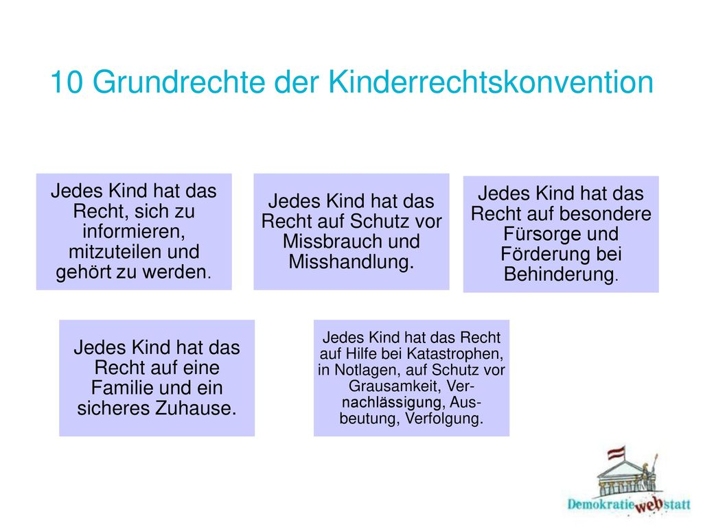 10 Grundrechte der Kinderrechtskonvention