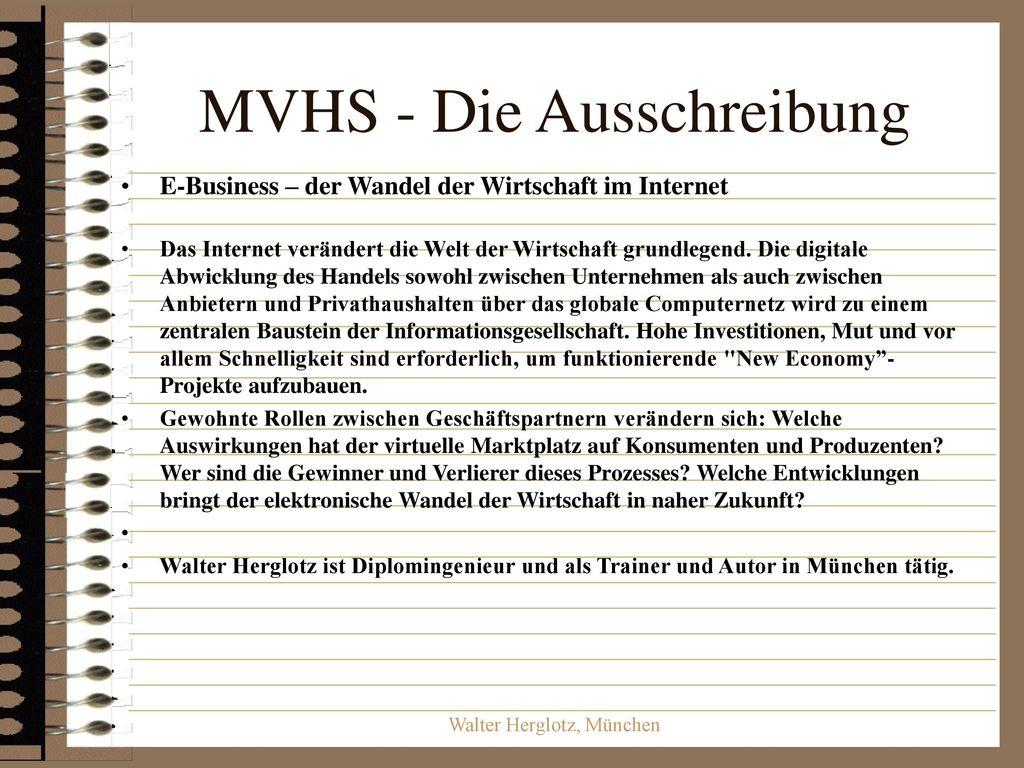 MVHS - Die Ausschreibung