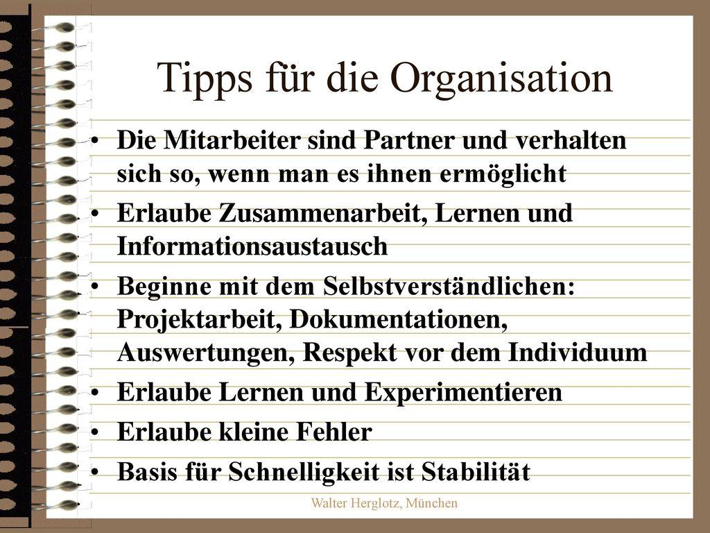 Tipps für die Organisation