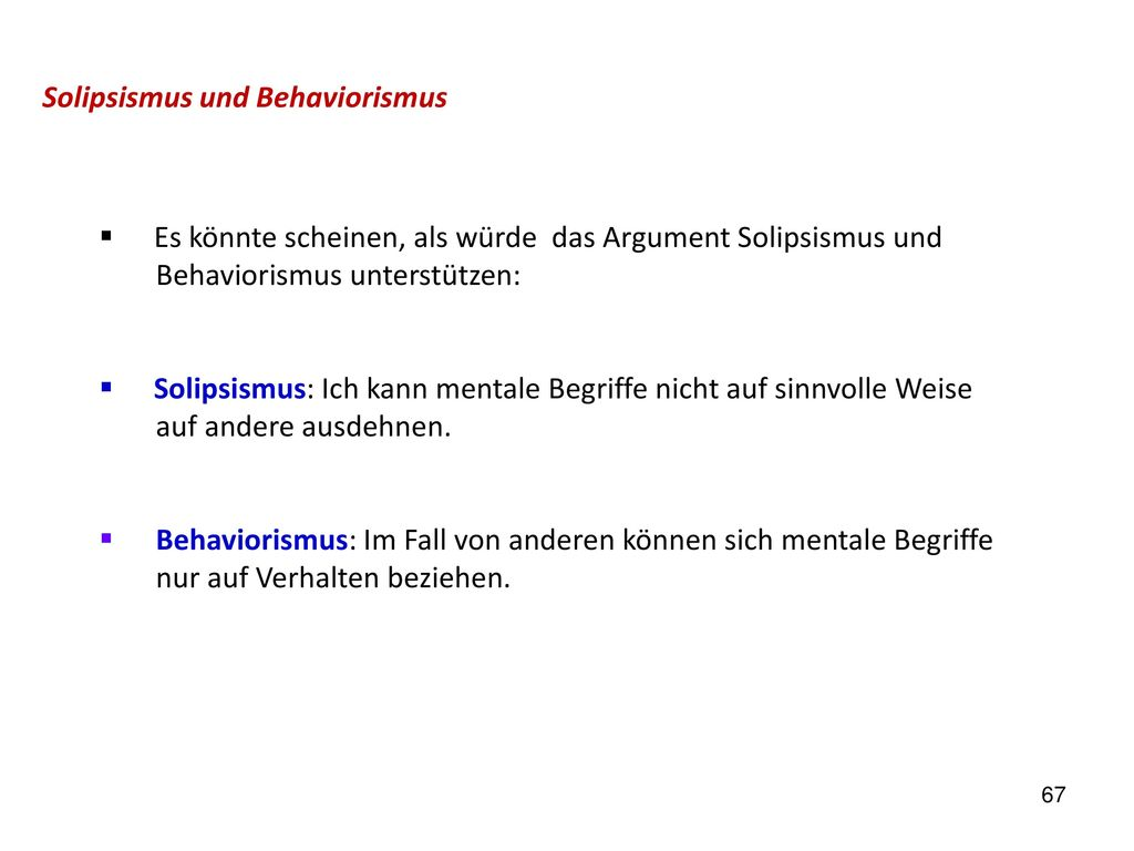 Solipsismus und Behaviorismus