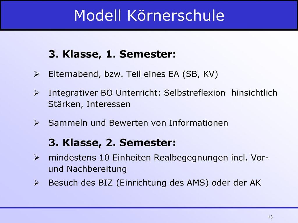 Modell Körnerschule 3. Klasse, 1. Semester: 3. Klasse, 2. Semester: