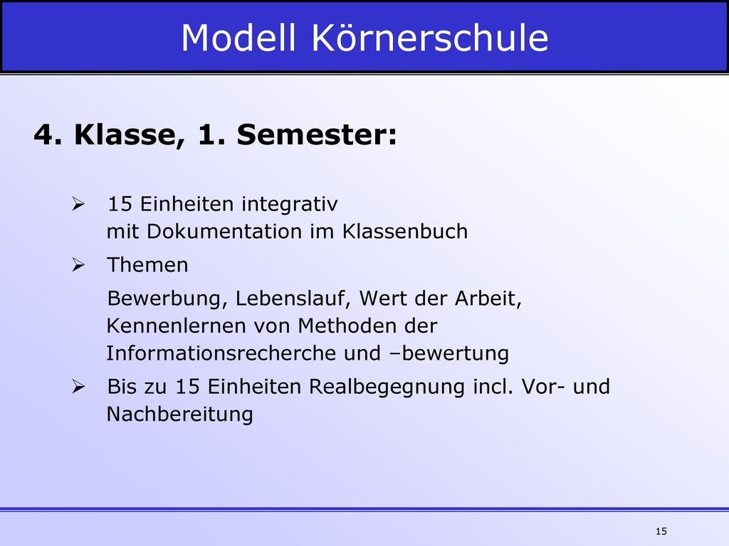 Modell Körnerschule 4. Klasse, 1. Semester: