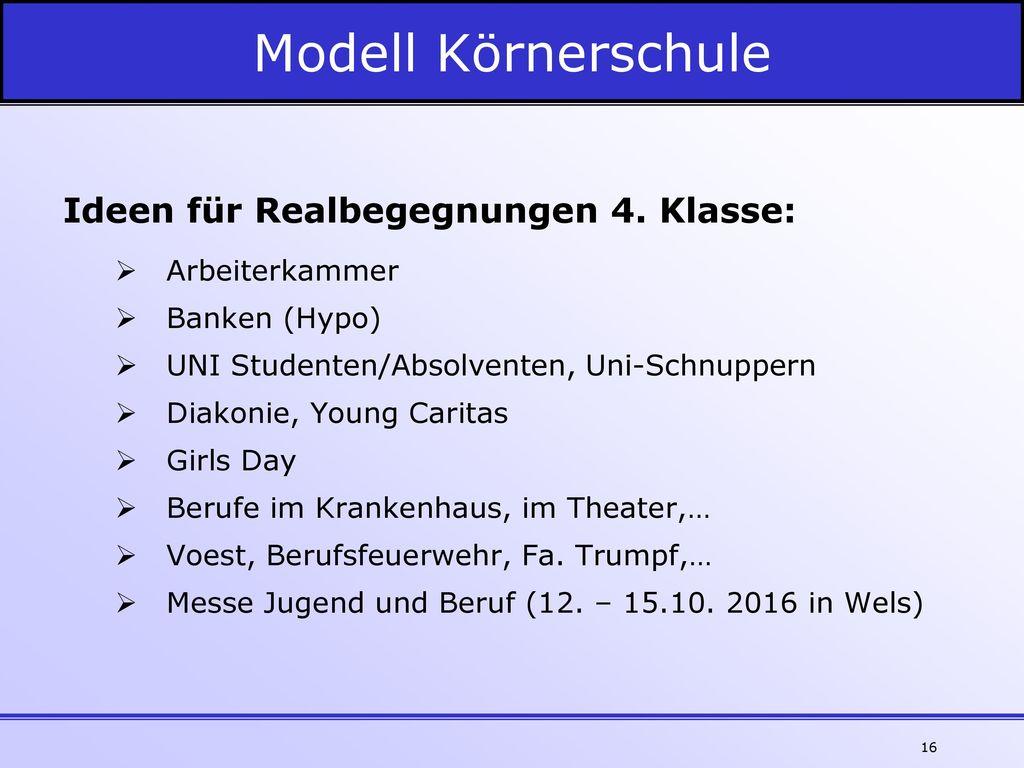 Modell Körnerschule Ideen für Realbegegnungen 4. Klasse: