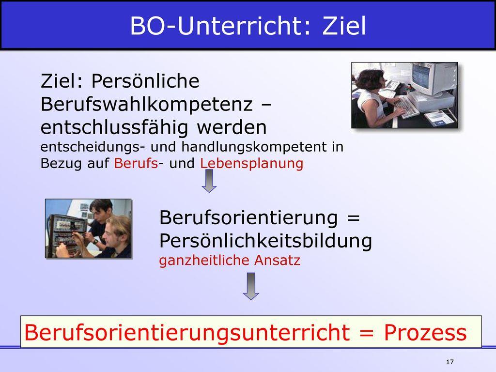 BO-Unterricht: Ziel Berufsorientierungsunterricht = Prozess