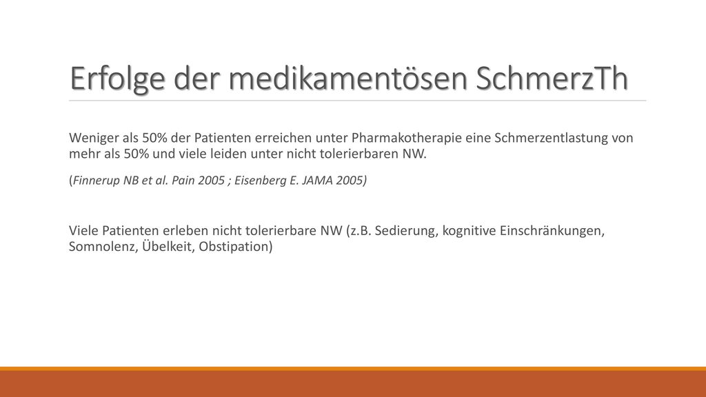 Erfolge der medikamentösen SchmerzTh