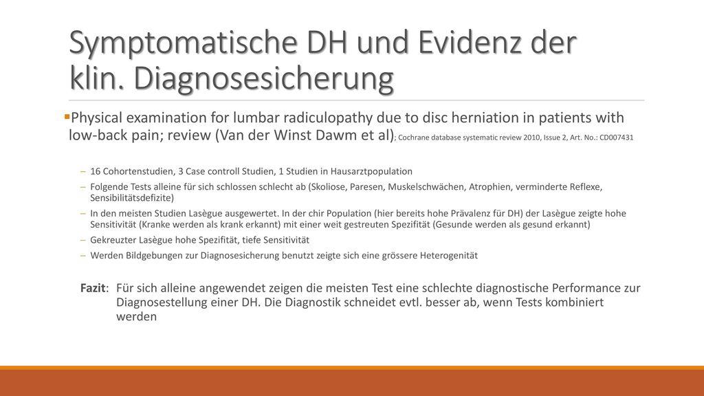 Symptomatische DH und Evidenz der klin. Diagnosesicherung