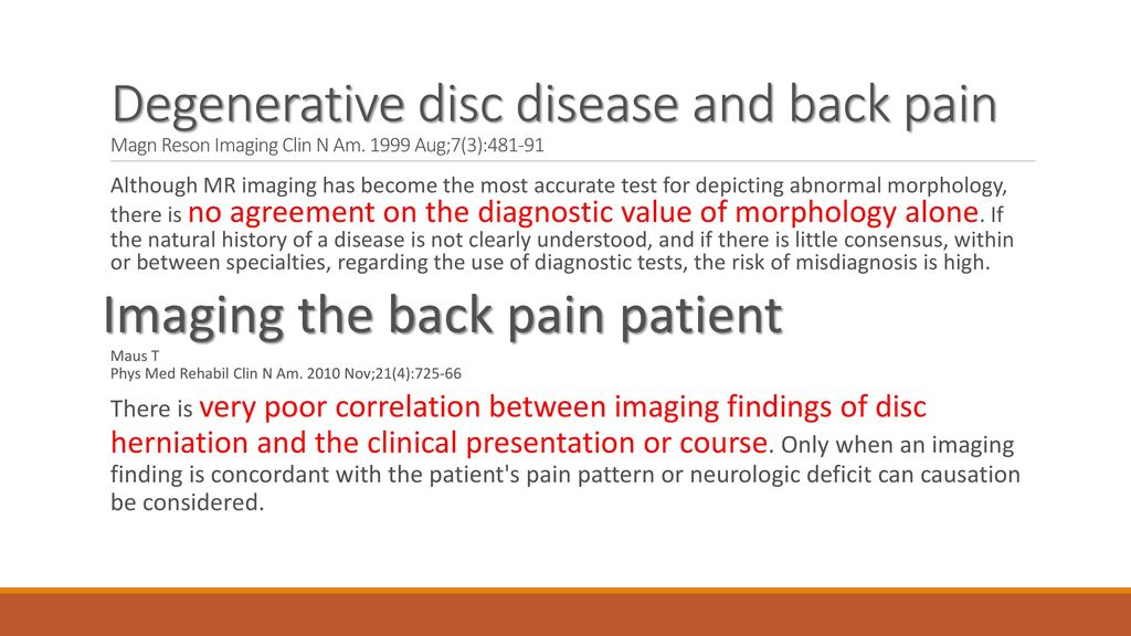 Imaging the back pain patient