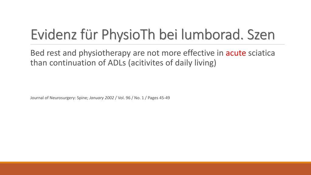 Evidenz für PhysioTh bei lumborad. Szen