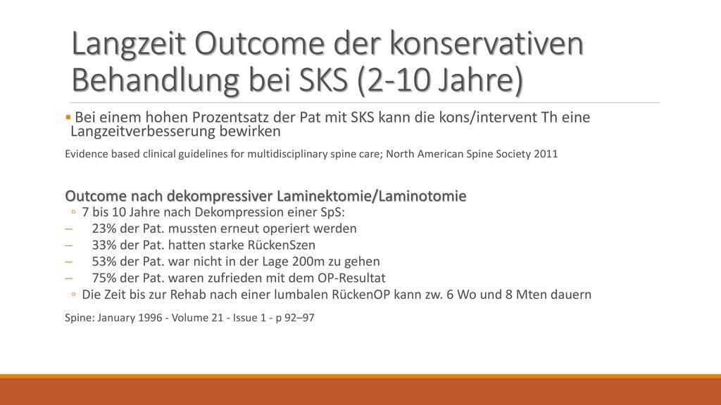 Langzeit Outcome der konservativen Behandlung bei SKS (2-10 Jahre)