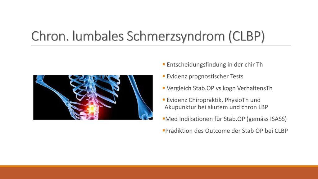 Chron. lumbales Schmerzsyndrom (CLBP)