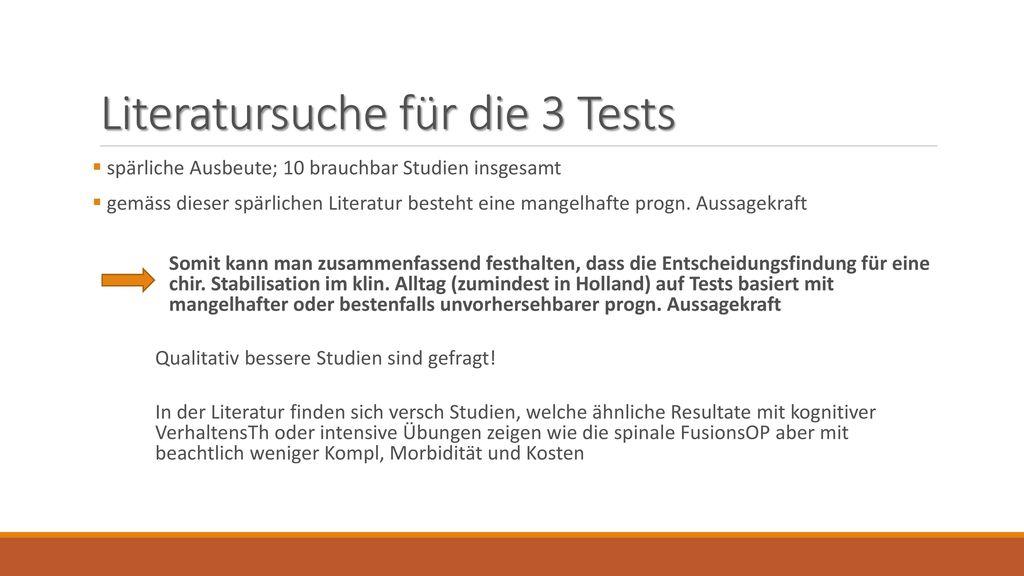 Literatursuche für die 3 Tests
