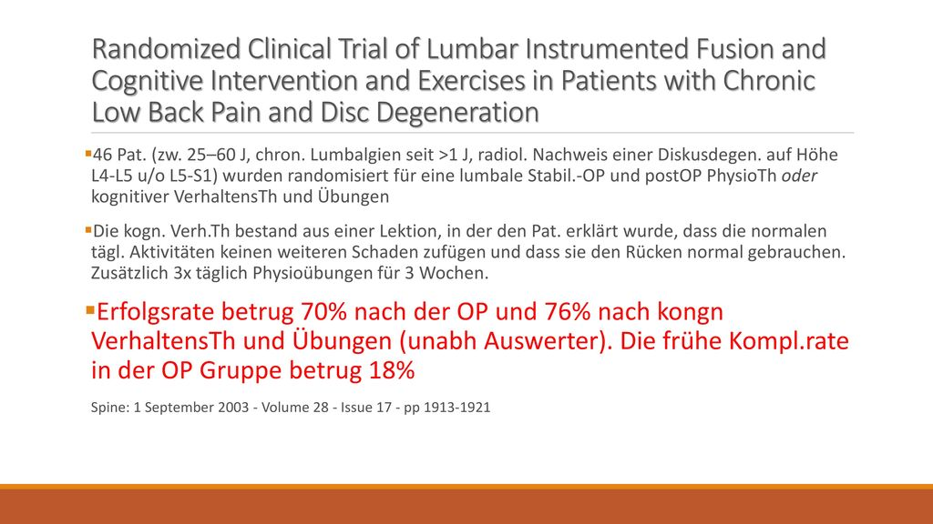 Randomized Clinical Trial of Lumbar Instrumented Fusion and Cognitive Intervention and Exercises in Patients with Chronic Low Back Pain and Disc Degeneration