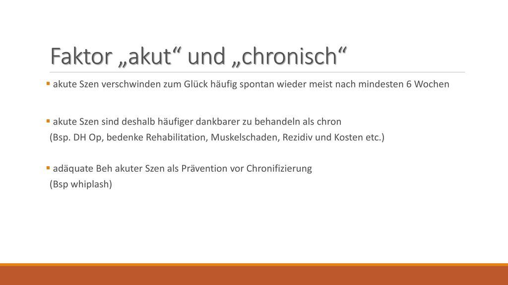 """Faktor """"akut und """"chronisch"""