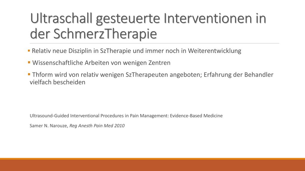 Ultraschall gesteuerte Interventionen in der SchmerzTherapie