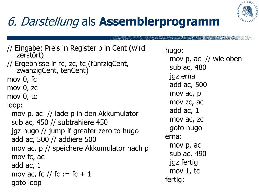 6. Darstellung als Assemblerprogramm