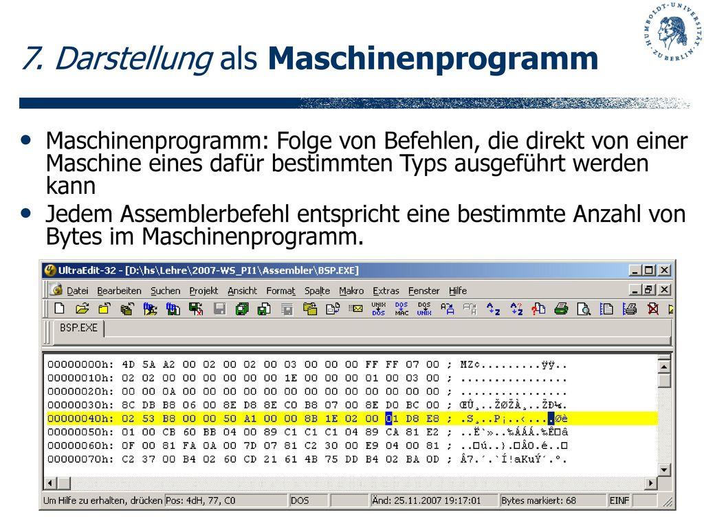 7. Darstellung als Maschinenprogramm