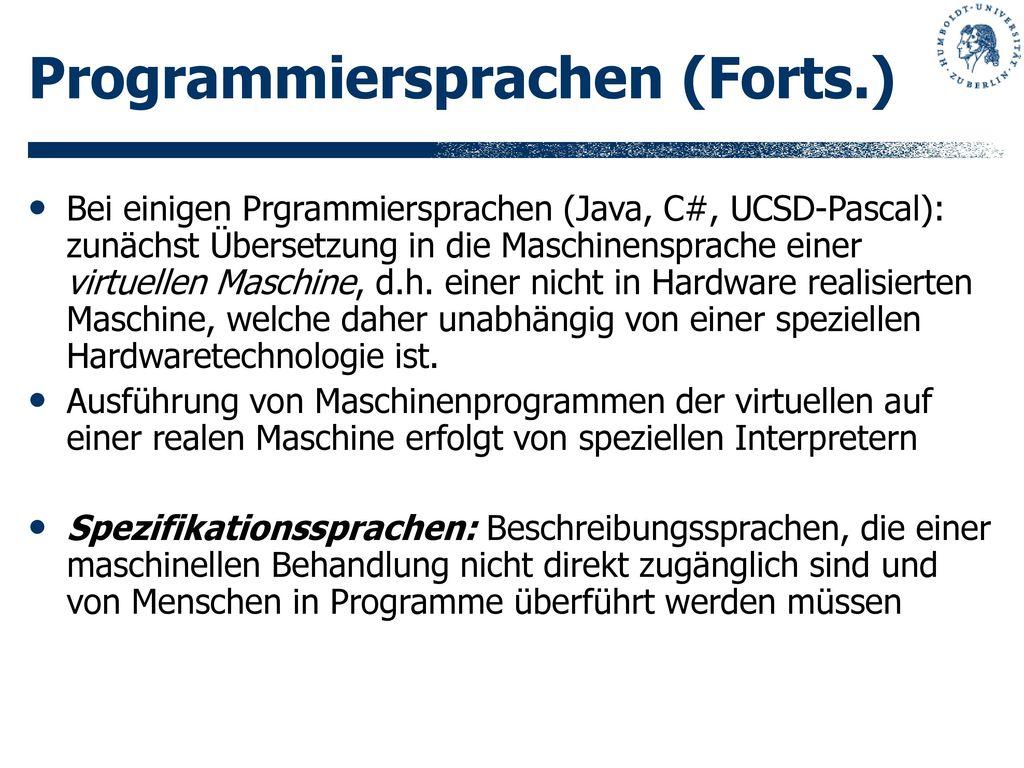 Programmiersprachen (Forts.)