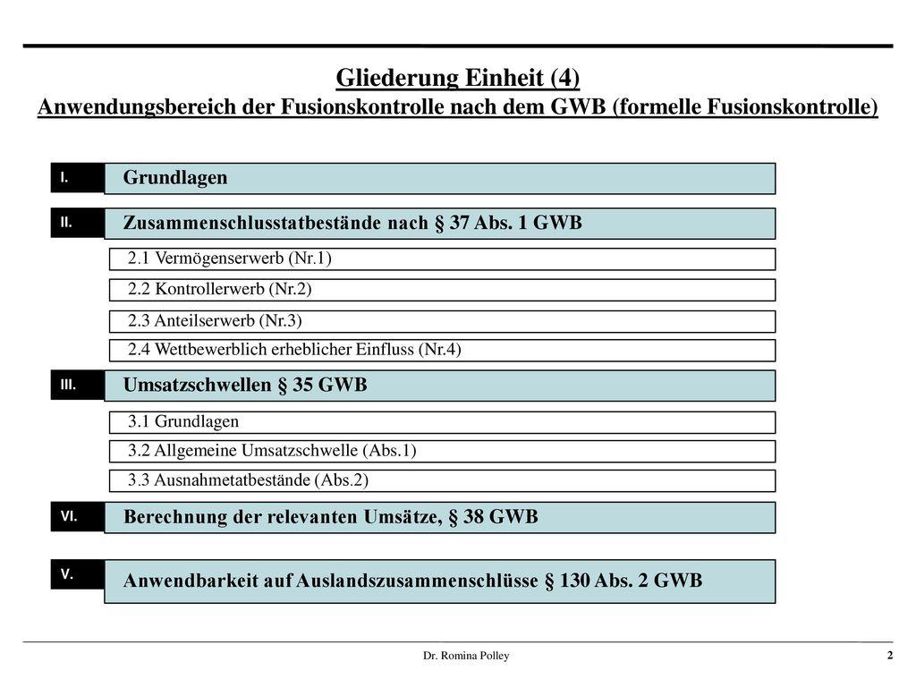 Gliederung Einheit (4) Anwendungsbereich der Fusionskontrolle nach dem GWB (formelle Fusionskontrolle)