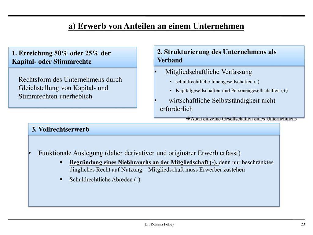 a) Erwerb von Anteilen an einem Unternehmen