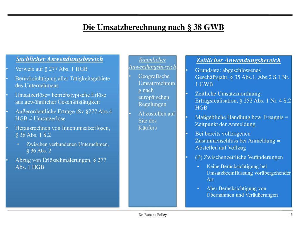 Die Umsatzberechnung nach § 38 GWB