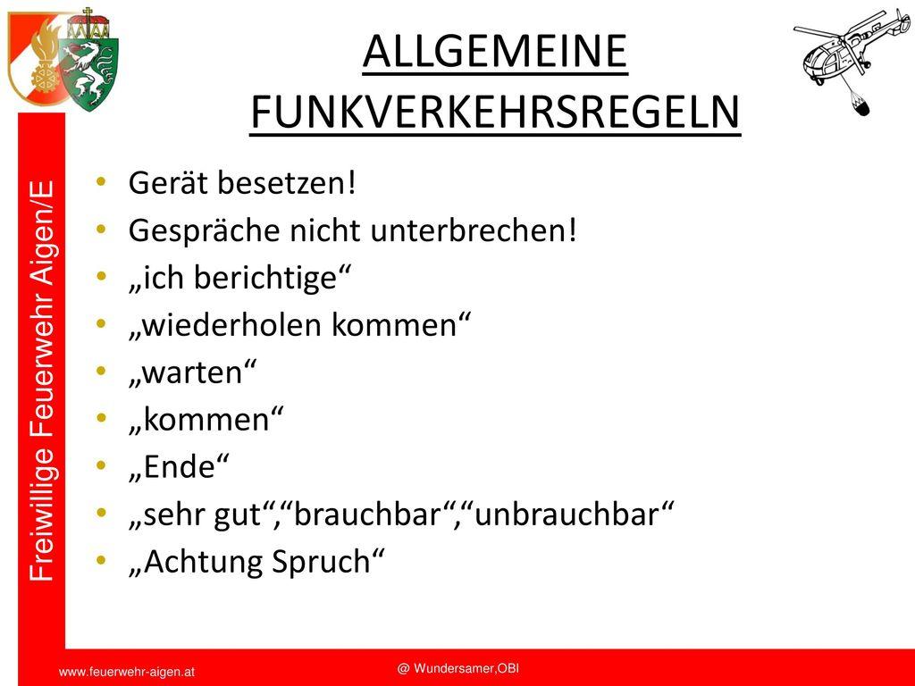 ALLGEMEINE FUNKVERKEHRSREGELN