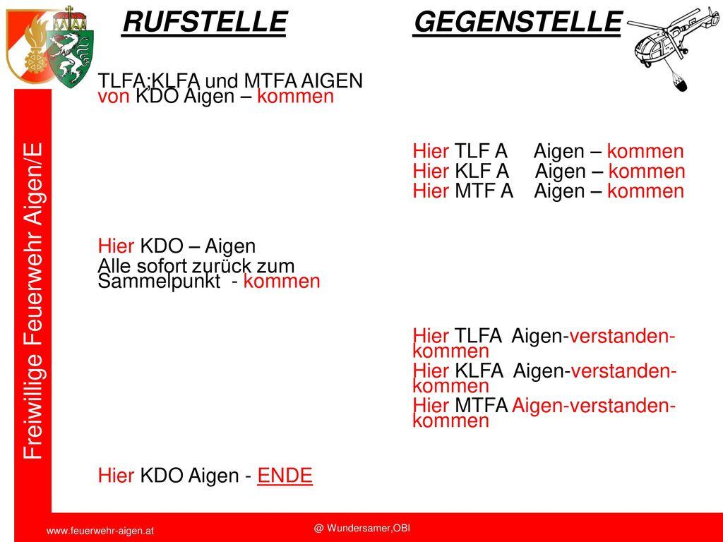 RUFSTELLE GEGENSTELLE TLFA;KLFA und MTFA AIGEN von KDO Aigen – kommen