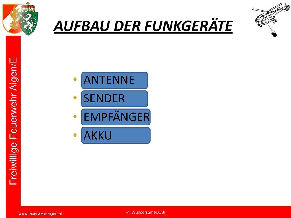 AUFBAU DER FUNKGERÄTE ANTENNE SENDER EMPFÄNGER AKKU Funkschulung 2011
