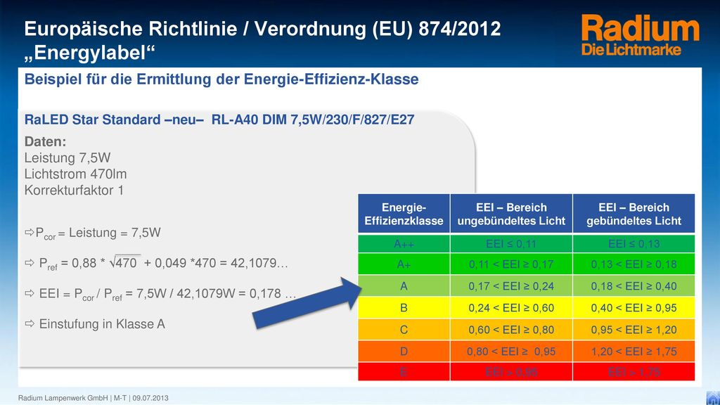 Beispiel für die Ermittlung der Energie-Effizienz-Klasse