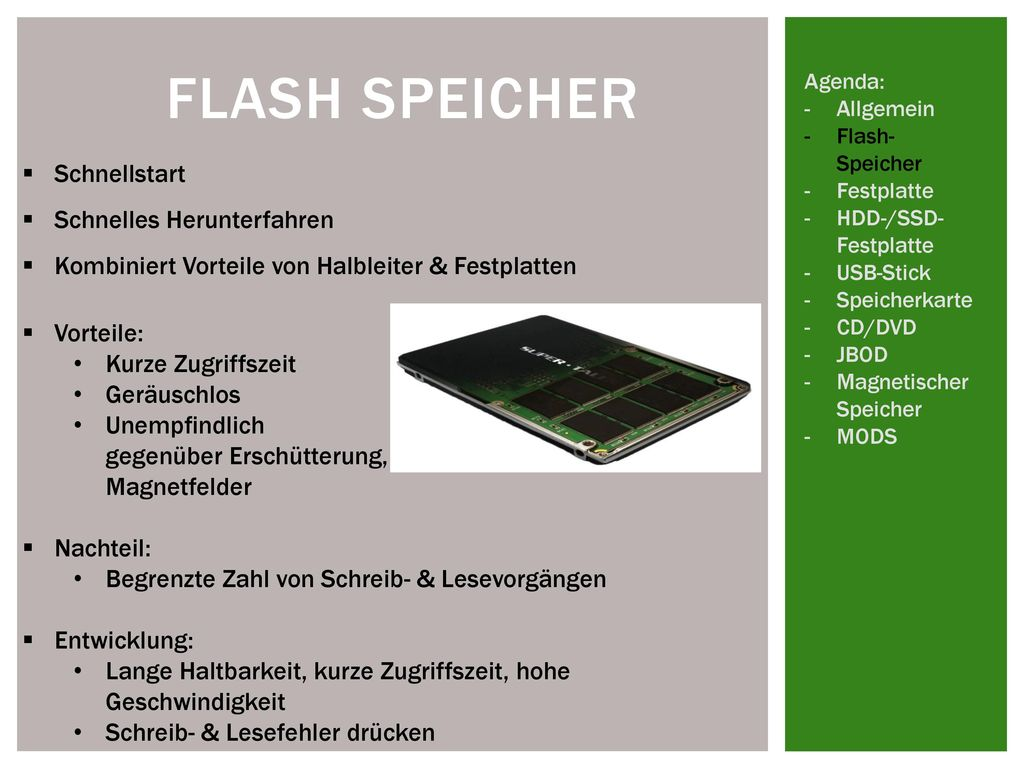 Flash Speicher Schnellstart Schnelles Herunterfahren