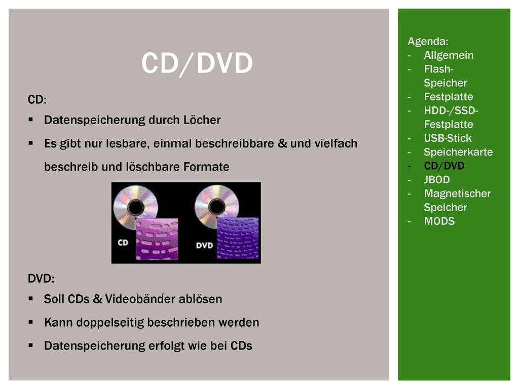 CD/DVD CD: Datenspeicherung durch Löcher