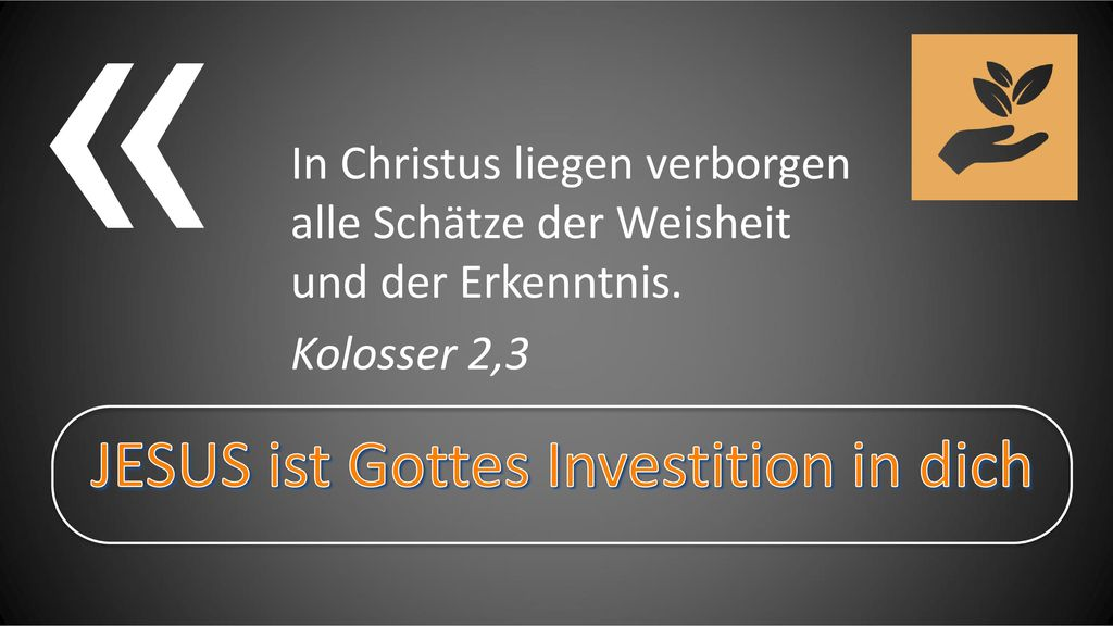 JESUS ist Gottes Investition in dich
