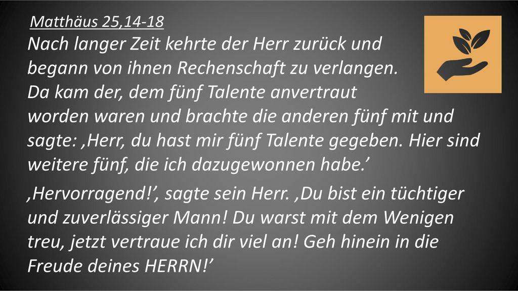 Matthäus 25,14-18