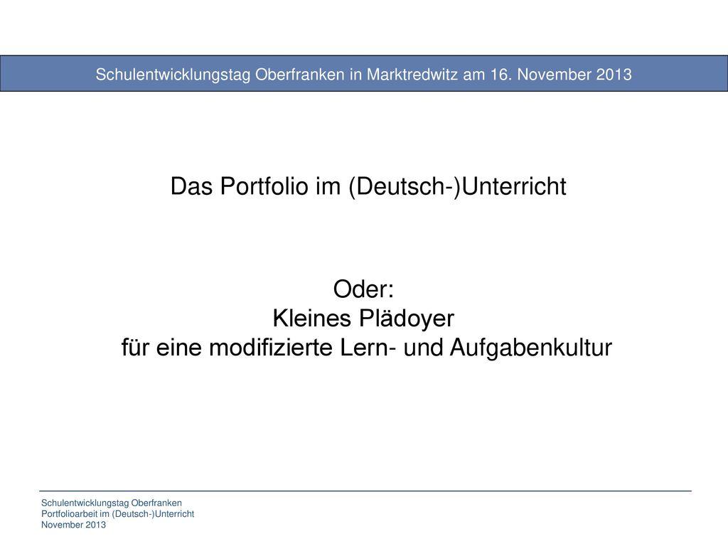 Das Portfolio im (Deutsch-)Unterricht