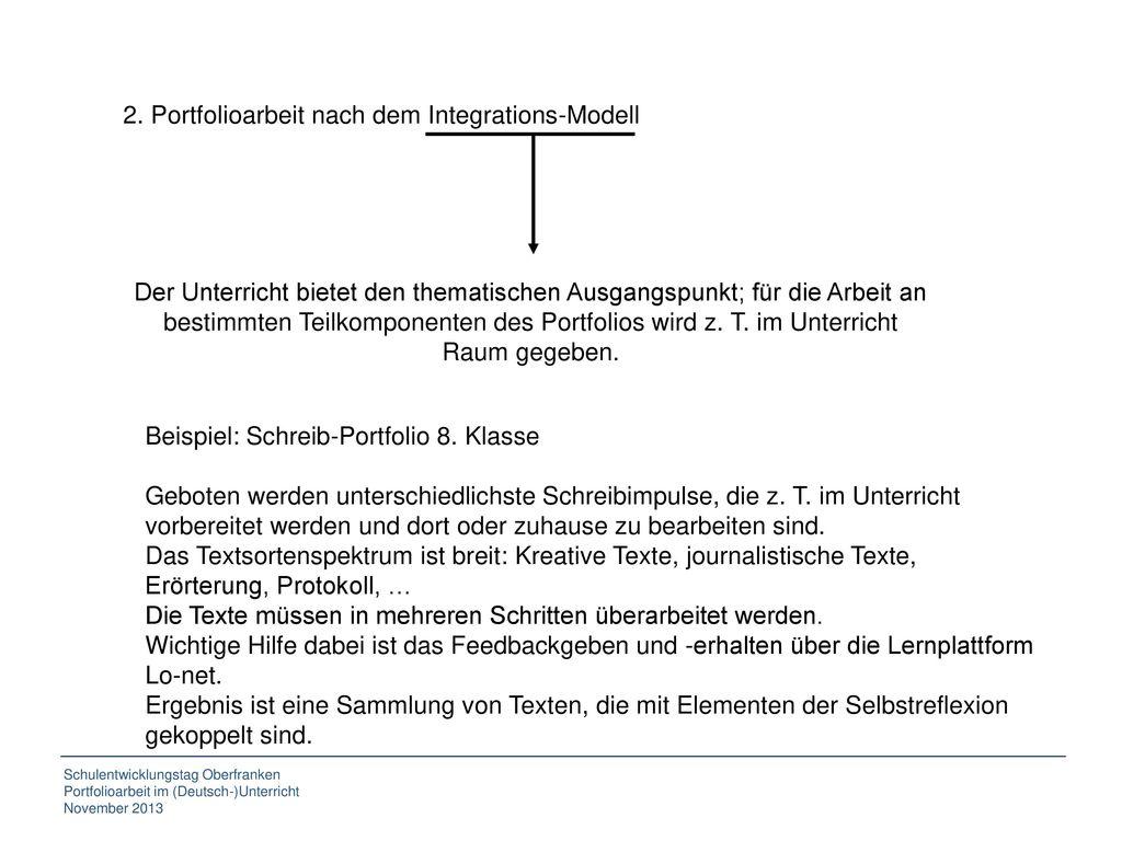 2. Portfolioarbeit nach dem Integrations-Modell