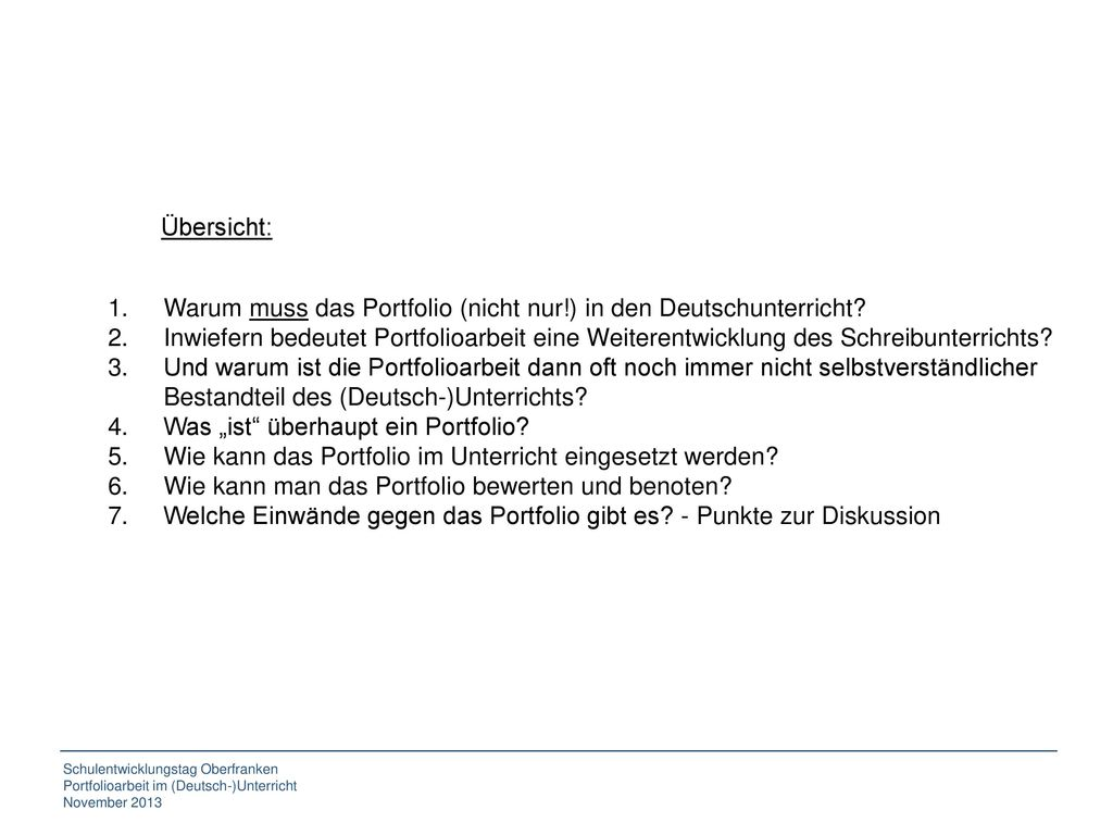 Übersicht: Warum muss das Portfolio (nicht nur!) in den Deutschunterricht