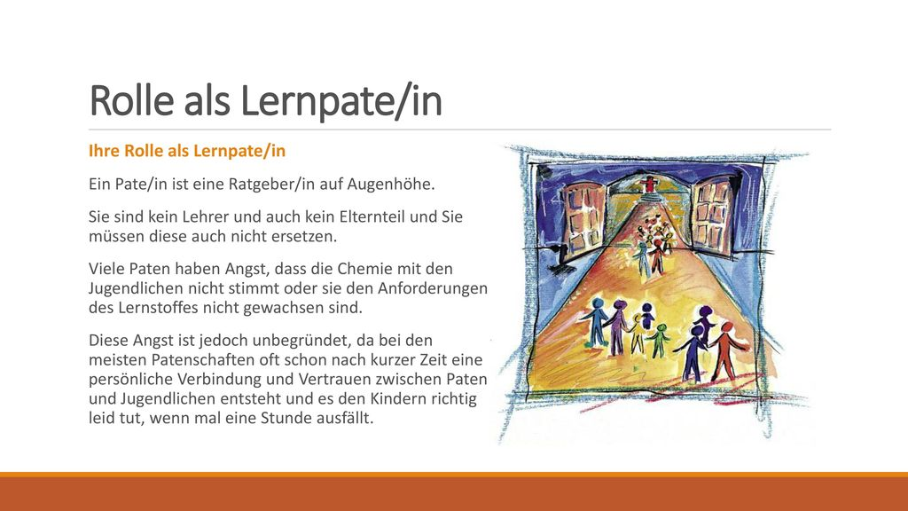 Rolle als Lernpate/in Ihre Rolle als Lernpate/in