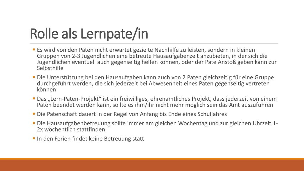 Rolle als Lernpate/in